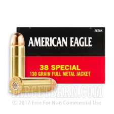 Federal American Eagle 38 Special Ammunition - 1000 Rounds of 130 Grain FMJ