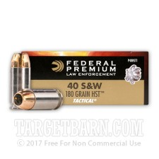 Federal Premium Law Enforcement 40 S&W Ammunition - 50 Rounds of 180 Grain HST JHP