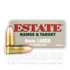 Estate Range & Target 9mm Luger Ammunition - 1000 Rounds of 115 Grain FMJ