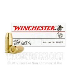Winchester USA 45 ACP Ammunition - 500 Rounds of 185 Grain FMJ