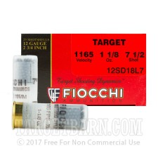 "Fiocchi Target 12 Gauge Ammunition - 25 Rounds of 2-3/4"" 1-1/8 oz. #7.5 Shot"