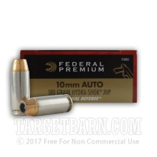 Federal Premium Personal Defense 10mm Auto Ammunition - 20 Rounds of 180 Grain Hydra-Shok JHP