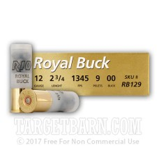 "RIO Royal Buck 12 Gauge Ammunition - 5 Rounds of 2-3/4"" 00 Buckshot"