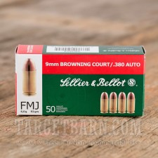 Sellier & Bellot 380 Auto Ammunition - 50 Rounds of 92 Grain FMJ