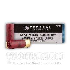 "Federal Power-Shok 12 Gauge Ammunition - 250 Rounds of 2-3/4"" 00 Buckshot"