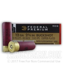 "Federal Premium Personal Defense 12 Gauge Ammunition - 250 Rounds of 2-3/4"" 00 Buckshot"