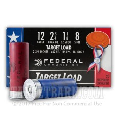 "12 ga - 2-3/4"" Wounded Warrior Lead Shot Target Load - 1-1/8 oz - #8 - Federal Top Gun - 250 Rounds"