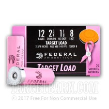 "Federal Target Load Pink 12 Gauge Ammunition - 25 Rounds of 2-3/4"" 1-1/8 oz. #8 Shot"