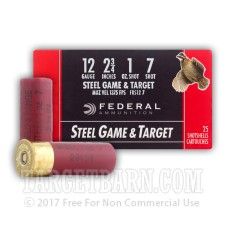 """12 Gauge - 2-3/4"""" 1 oz. #7 Steel Shot - Federal Game and Target - 250 Rounds"""