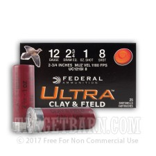 "Federal Ultra Clay & Field 12 Gauge Ammunition - 250 Rounds of 2-3/4"" 1 oz. #8 Shot"