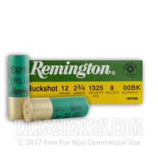 "Remington Buckshot 12 Gauge Ammunition - 5 Rounds of 2-3/4"" 00 Buckshot"