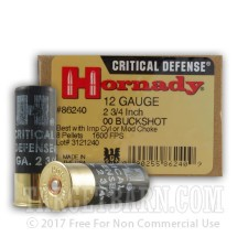 "Hornady Critical Defense 12 Gauge Ammunition - 100 Rounds of 2-3/4"" 00 Buckshot"