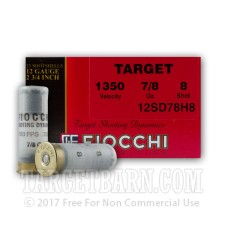 "Fiocchi Target 12 Gauge Ammunition - 250 Rounds of 2-3/4"" 7/8 oz. #8 Shot"