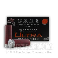 "Federal Ultra Clay & Field 12 Gauge Ammunition - 25 Rounds of 2-3/4"" 1-1/8 oz. #8 Shot"