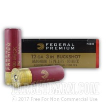 "Federal Vital-Shok 12 Gauge Ammunition - 5 Rounds of 3"" 00 Buckshot"