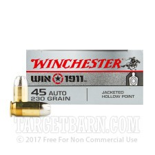 Winchester Win 1911 45 ACP Ammunition - 500 Rounds of 230 Grain JHP