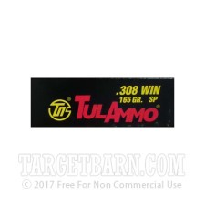 Tula 308 Winchester Ammunition - 500 Rounds of 165 Grain SP