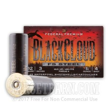 "Federal Blackcloud 12 Gauge Ammunition - 25 Rounds of 3"" 1-1/4 oz. #4 Steel Shot"