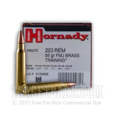 Hornady 223 Remington Ammunition - 500 Rounds of 55 grain FMJ