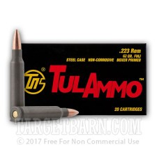 Tula 223 Remington Ammunition - 500 Rounds of 62 Grain FMJ