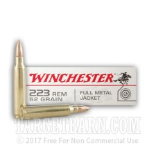 Winchester 223 Remington Ammunition - 20 Rounds of 62 Grain FMJ