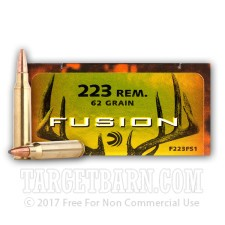 Federal Fusion 223 Remington Ammunition - 20 Rounds of 62 Grain Fusion