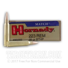 Hornady Match 223 Remington Ammunition - 20 Rounds of 68 Grain HPBT