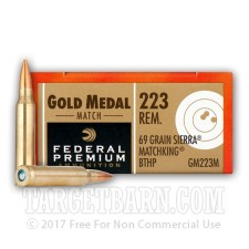 Federal Premium Sierra Match King Gold Medal 223 Rem Ammunition - 20 Rounds of 69 Grain BT-HP