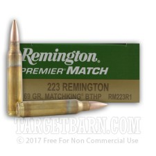 Remington Premier Match 223 Remington Ammunition - 20 Rounds of 69 Grain Matchking HPBT
