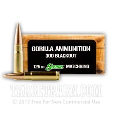 Gorilla 300 AAC Blackout Ammunition - 20 Rounds of 125 Grain Sierra Matchking