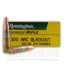 Remington Express 300 AAC Blackout Ammunition - 20 Rounds of 220 Grain OTM