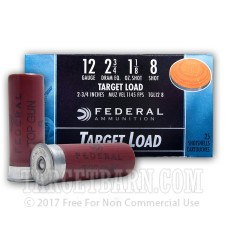 "Federal Target Load 12 Gauge Ammunition - 250 Rounds of 2-3/4"" 1-1/8 oz. #8 Shot"