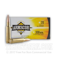 Armscor 308 Winchester Ammunition - 20 Rounds of 147 Grain FMJ