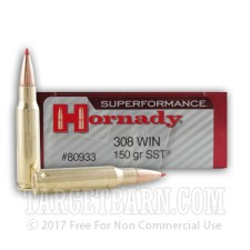 Hornady Superformance 308 Winchester Ammunition - 20 Rounds of 150 Grain SST