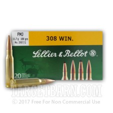 Sellier & Bellot 308 Winchester Ammunition - 20 Rounds of 180 Grain FMJ