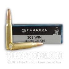 Federal Power-Shok 308 Winchester Ammunition - 20 Rounds of 180 Grain SP