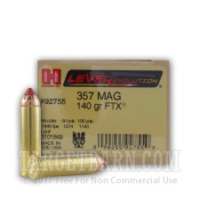 Hornady LEVERevolution 357 Magnum Ammunition - 25 Rounds of 140 Grain FTX