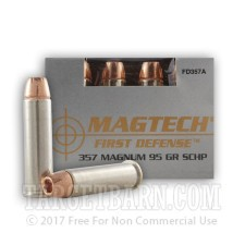 Magtech First Defense 357 Magnum Ammunition - 20 Rounds of 95 Grain SCHP
