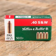 Sellier & Bellot 40 S&W Ammunition - 50 Rounds of 180 Grain FMJ
