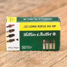 Sellier & Bellot 22 LR Ammunition - 50 Rounds of 38 Grain High Velocity Hollow Point