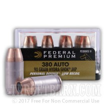 Federal Premium Personal Defense 380 ACP Ammunition - 20 Rounds of 90 Grain Hydra-Shok JHP