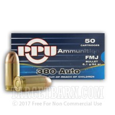 Prvi Partizan 380 ACP Ammunition - 50 Rounds of 94 Grain FMJ