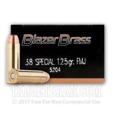 Blazer Brass 38 Special Ammunition - 50 Rounds of 125 Grain FMJ