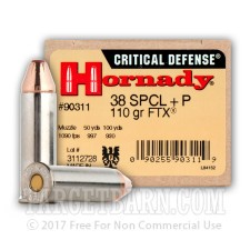 Hornady Critical Defense 38 Special Ammunition - 25 Rounds of +P 110 Grain FTX