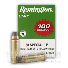 Remington UMC 38 Special Ammunition - 100 Rounds of +P 125 Grain SJHP