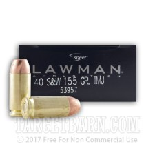 Speer Lawman 40 S&W Ammunition - 50 Rounds of 155 Grain TMJ