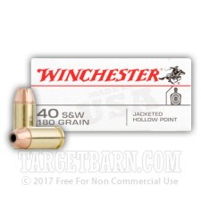 Winchester 40 S&W Ammunition - 50 Rounds of 180 Grain JHP