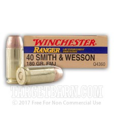 Winchester Ranger 40 S&W Ammunition - 50 Rounds of 180 Grain FMJ