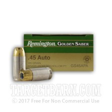 Remington Golden Saber 45 ACP Ammunition - 500 Rounds of 185 Grain JHP
