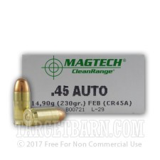 Magtech Clean Range 45 ACP Ammunition - 50 Rounds of 230 Grain FEB